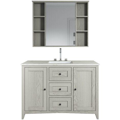 Bathroom furniture set Makalu 120cm Brown - base cabinet cabinet washbasin vanity mirror cabinet
