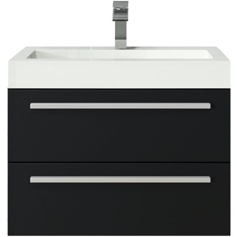 Bathroom furniture set Marseille 60 cm basin grey oak - Storage cabinet vanity unit sink furniture