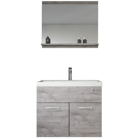 Bathroom furniture set Montreal 02 60cm basin Grey - Storage cabinet vanity unit sink furniture