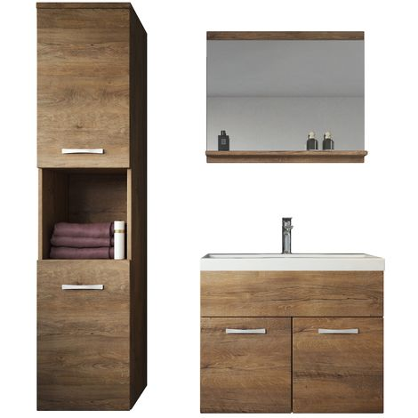 Bathroom furniture set Montreal 60cm basin lefkas (brown)- Storage cabinet vanity unit sink furniture
