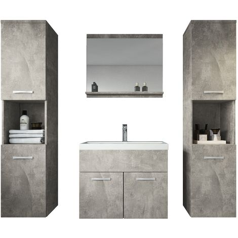 Bathroom furniture set Montreal XL 60cm basin concrete (grey) - Storage cabinet vanity unit sink furniture