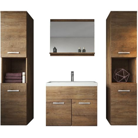 Bathroom furniture set Montreal XL 60cm basin lefkas (brown) - Storage cabinet vanity unit sink furniture