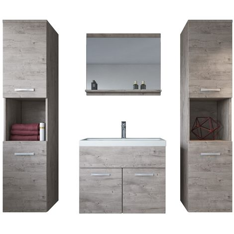 Bathroom furniture set Montreal XL 60cm basin Ribbeck Grey - Storage cabinet vanity unit sink furniture
