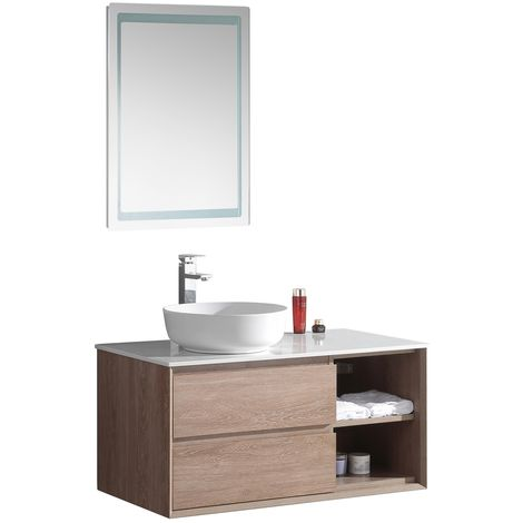 Bathroom furniture set Ovada 100cm basin - Storage cabinet vanity unit sink furniture LED mirror