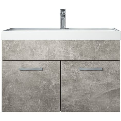 Bathroom furniture set Paso 01 80cm basin Beton (grey) - Storage cabinet vanity unit sink furniture