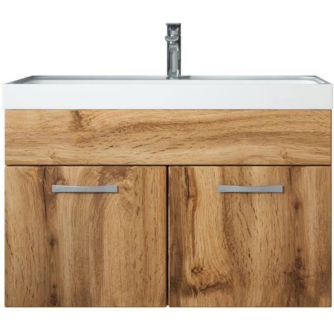 Bathroom furniture set Paso 01 80cm basin Wotan (brown) - Storage cabinet vanity unit sink furniture