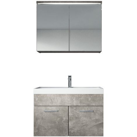 Bathroom furniture set Paso 02 80cm basin Beton (grey) - Mirror storage cabinet vanity unit sink furniture