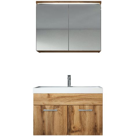 Bathroom furniture set Paso 02 80cm basin Wotan (brown) - Mirror storage cabinet vanity unit sink furniture