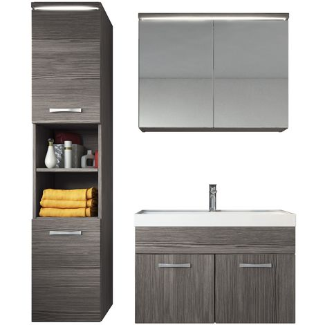 Bathroom furniture set Paso 80cm basin Bodega (grey) - Storage cabinet vanity unit sink furniture