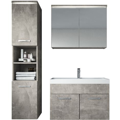 Bathroom furniture set Paso 80cm basin concrete (grey) - Storage cabinet vanity unit sink furniture