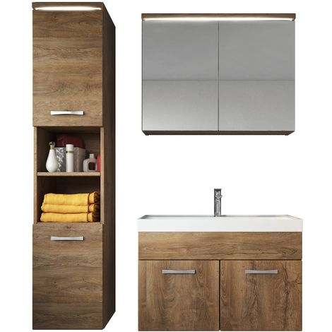 Bathroom furniture set Paso 80cm basin Lefkas (brown) - Storage cabinet vanity unit sink furniture