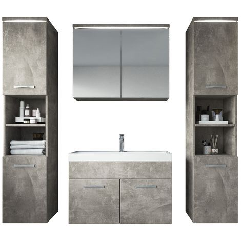 Bathroom furniture set Paso xl 80cm basin Beton (grey) - Storage cabinet vanity unit sink furniture