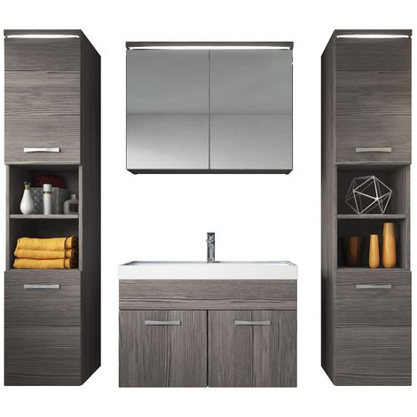 Bathroom furniture set Paso xl 80cm basin Bodega (grey) - Storage cabinet vanity unit sink furniture