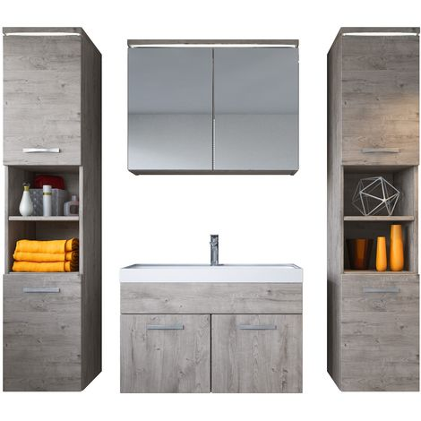Bathroom furniture set Paso xl 80cm basin Ribbeck Grey - Storage cabinet vanity unit sink furniture