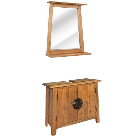 Bathroom Furniture Set Recycled Solid Recycled Pinewood - Brown