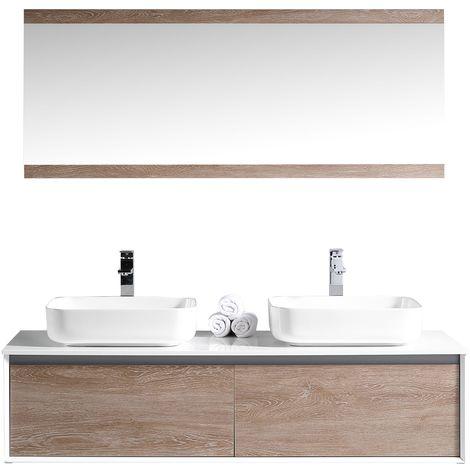 Bathroom furniture set Remus 150cm basin White with wood - Storage cabinet vanity unit sink furniture mirror