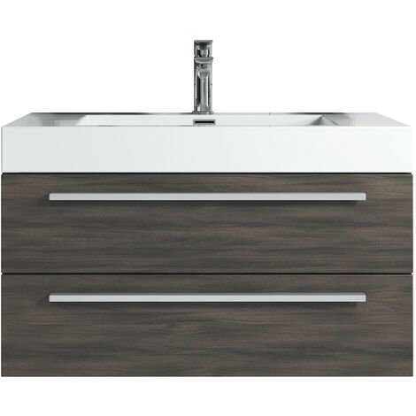 Bathroom furniture set Rome 120 cm basin grey oak - Storage cabinet vanity unit sink furniture