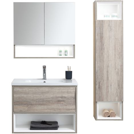 Bathroom furniture set Sierra 100cm basin - Storage cabinet vanity unit sink furniture LED mirror