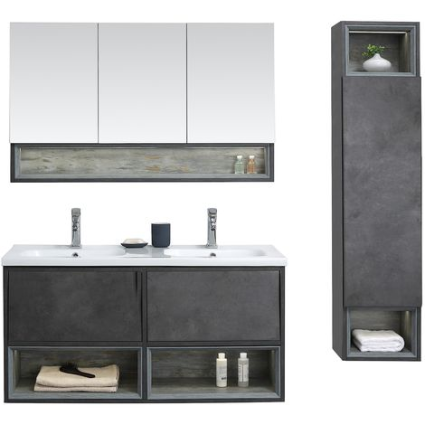 Bathroom furniture set Sierra 120cm basin - Storage cabinet vanity unit sink furniture LED mirror