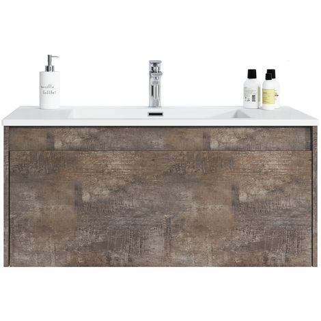 Bathroom furniture set Slik 100 cm basin ash stone - Storage cabinet vanity unit sink furniture