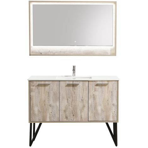 Bathroom furniture set Tulum 120 cm basin nature wood - Storage cabinet vanity unit sink furniture LED mirror