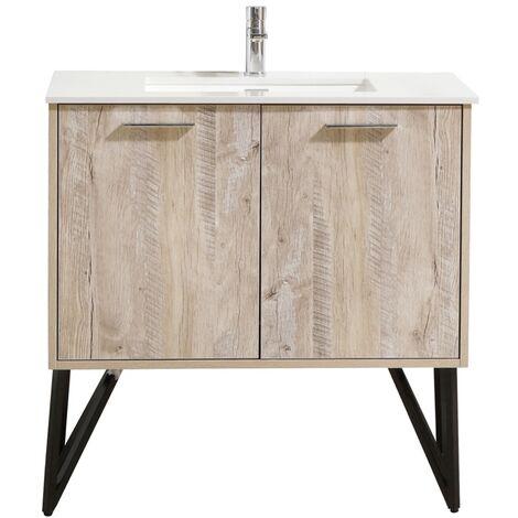 Bathroom furniture set Tulum 90 cm basin nature wood - Storage cabinet vanity unit sink furniture LED mirror