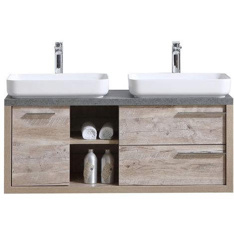 Bathroom furniture set Vermont 120 cm basin nature wood - Storage cabinet vanity unit sink furniture mirror