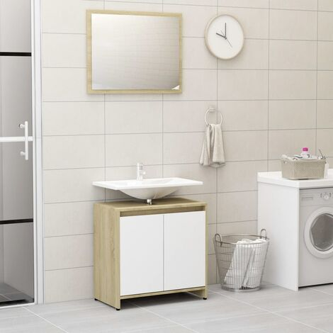 Bathroom Furniture Set White and Sonoma Oak Chipboard