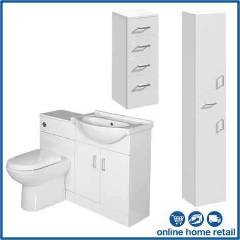 Bathroom Furniture Toilet Sink Vanity Cabinet Tall Unit ...