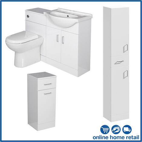 Bathroom Furniture Toilet Vanity Cabinet Tall Unit Laundry White