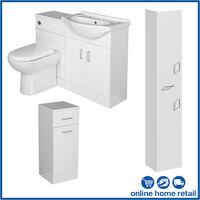 Bathroom Furniture Toilet Vanity Cabinet Tall Unit Laundry White