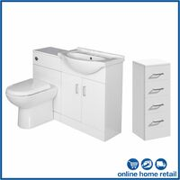 Bathroom Furniture Toilet Vanity Unit Drawer Cabinet White Gloss