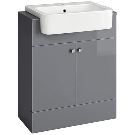 Bathroom Gloss Grey Vanity Unit Basin Floor Standing Storage Furniture 667mm