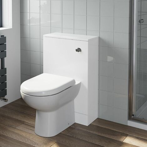 Bathroom Gloss White Flat Pack Concealed Cistern Unit Toilet 500mm x 330mm