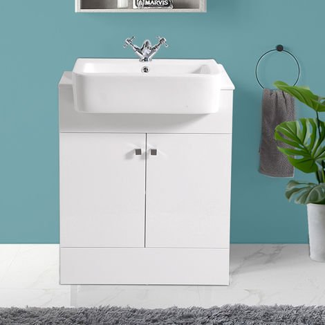 Bathroom Gloss White Vanity Unit Basin Floor Standing Storage Furniture 667mm