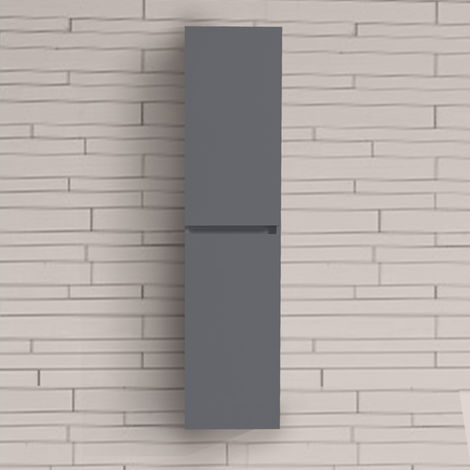 Bathroom Grey 1400mm High Tall Wall Hung Cabinet Cupboard Storage Furniture