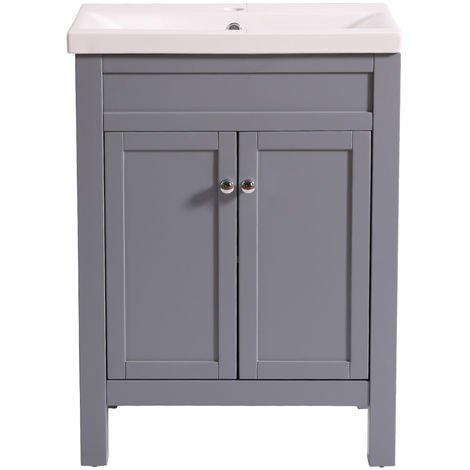 Bathroom Grey Vanity Sink Unit Basin Floor Standing Storage Furniture 600mm