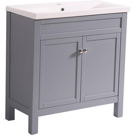 Bathroom Grey Vanity Sink Unit Basin Floor Standing Storage Furniture 800mm