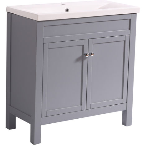 Bathroom Grey Vanity Sink Unit Basin Floor Standing Storage Furniture 800mm