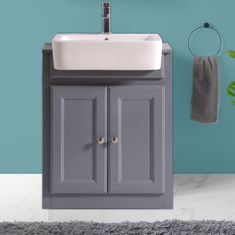 Bathroom Grey Vanity Unit Basin Floor Standing Storage Furniture 667mm