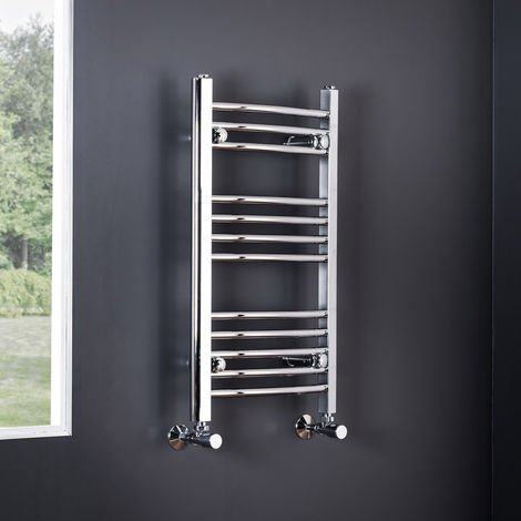 Essentials 700 x 400mm Curved Chrome Heated Towel Rail - 700 X 400 mm Curved Chrome