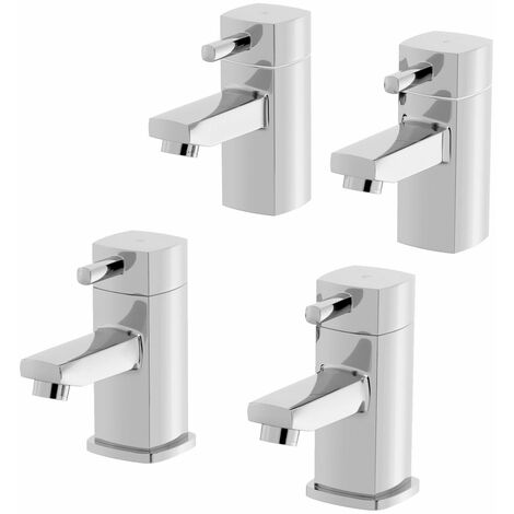 Bathroom Hot & Cold Basin Sink Taps Bath Taps Set Twin Chrome
