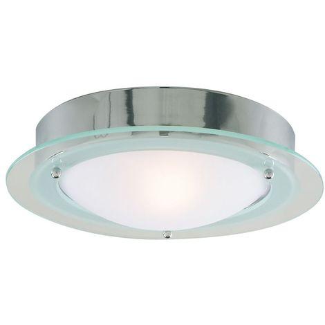 BATHROOM IP44 1 LIGHT - CHROME FLUSH CLEAR/OPAL GLASS