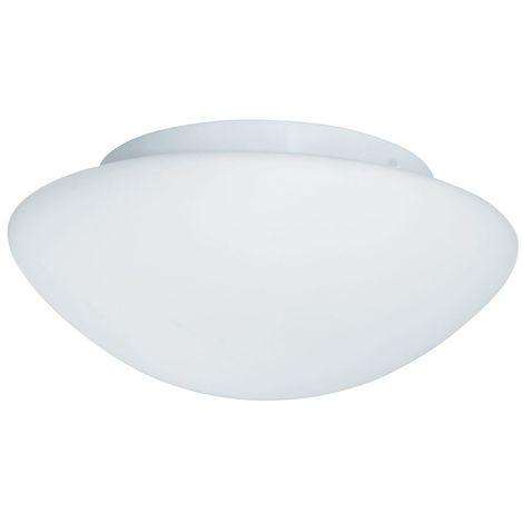 BATHROOM IP44 1 LIGHT - WHITE FLUSH OPAL GLASS FITTING 23cm