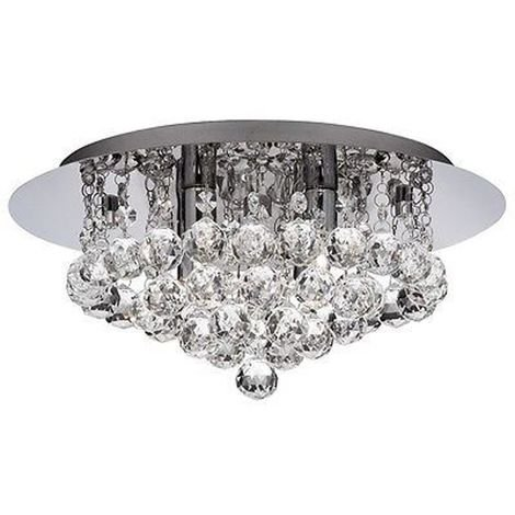 BATHROOM IP44 - 4 LIGHT CHROME FLUSH CL EAR CRYSTAL BALL G9