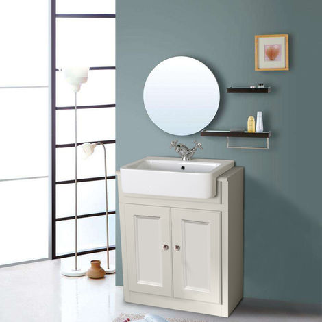 Bathroom Ivory White Vanity Unit Basin Floor Standing Storage Furniture 667mm