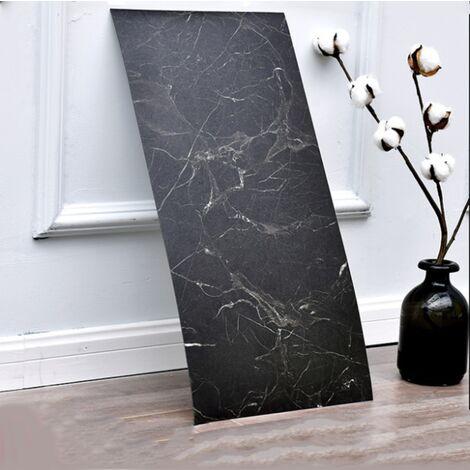 Bathroom Kitchen PVC Self-adhesive Self-adhesive floor tile Waterproof wallpaper Living room Marble wallpaper Bathroom Waterproof Package Tile (Black (10 * PCS)