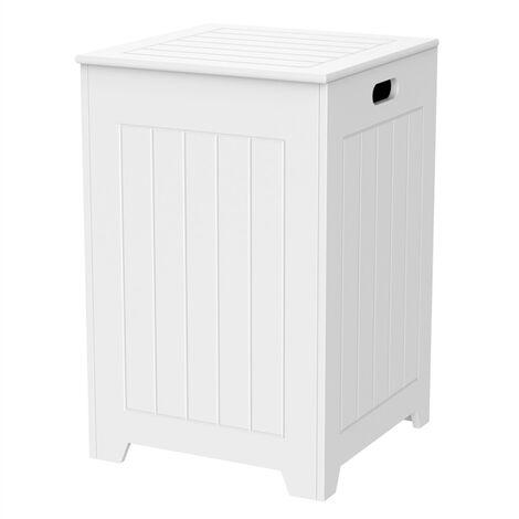 Bathroom Laundry Bin Basket, Wooden Organizer Hamper with Lid for Bathroom Laundry Bedroom 40 x 40 x 61cm