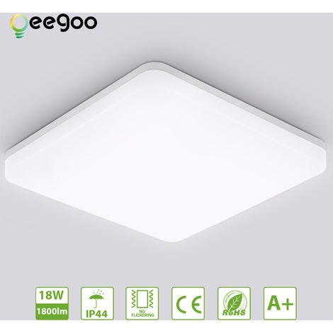 Bathroom LED Ceiling Light, Oeegoo 18W 1800lm Flush Mount Light IP44 Waterproof Bathroom Lights, 4000K Neutral White Wall Mounted Ceiling Lamp for Living Room Hallway Kitchen Bedroom Balcony Corridor