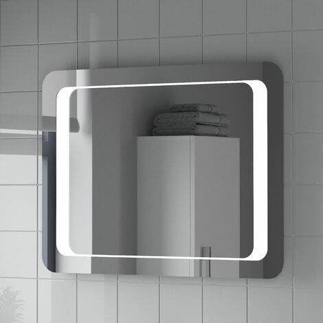 Bathroom LED Illuminated Mirror With Demister Modern Mains Power IP44 600x800mm